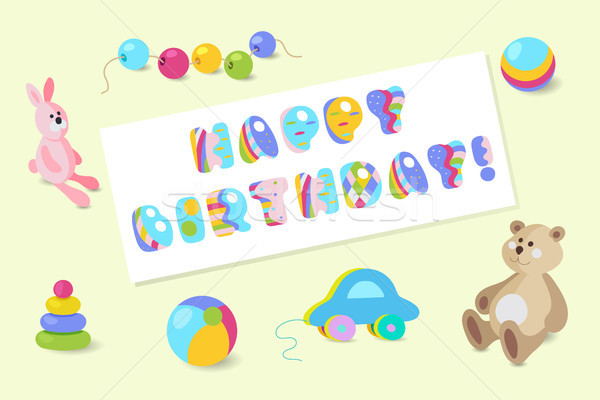 Happy Birthday vector colorful baby toy greeting card Stock photo © TasiPas