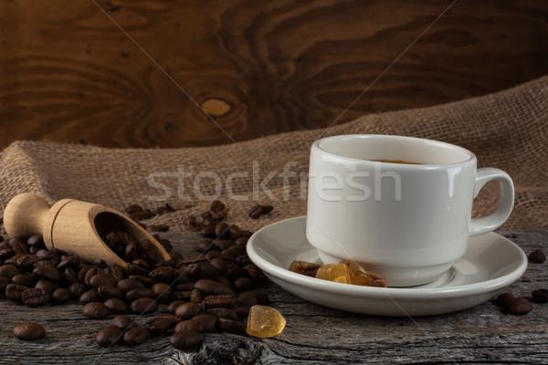 Kávésbögre rusztikus kávéscsésze erős kávé csésze Stock fotó © TasiPas