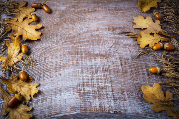 Frame of rye, acorn and fall leaves on dark wooden background Stock photo © TasiPas