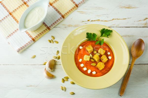 Romig pompoen soep knoflook squash groentesoep Stockfoto © TasiPas