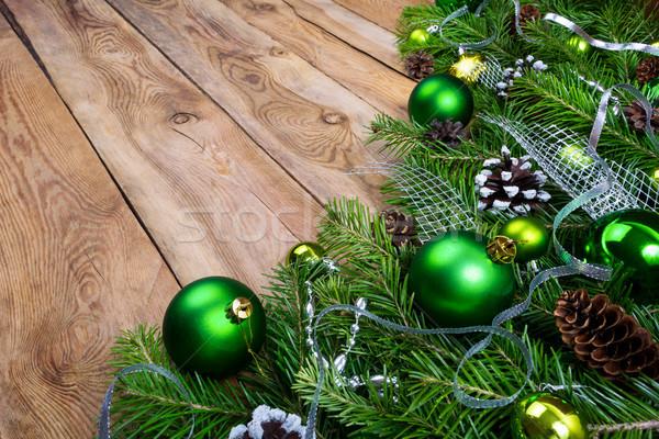Рождества гирлянда зеленый деревенский ель Сток-фото © TasiPas