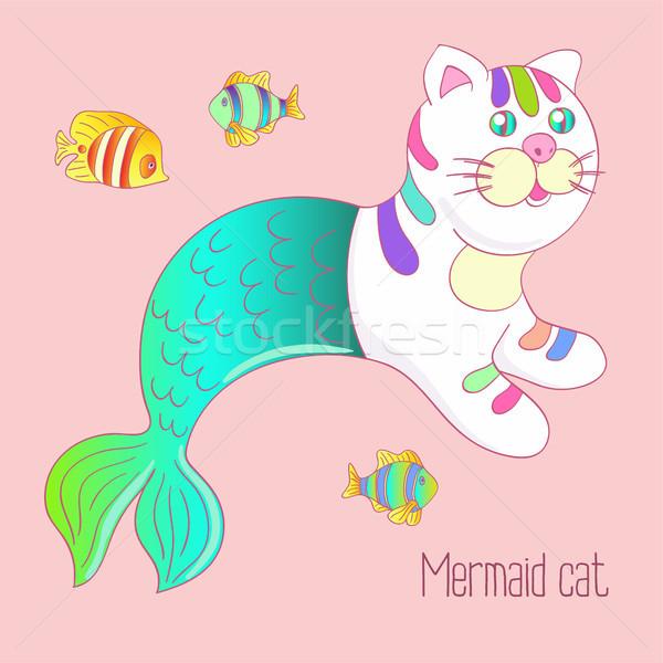 かわいい 人魚 猫 緑 尾 カラフル ストックフォト © TasiPas