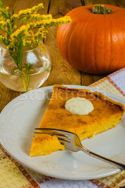 Pumpkin pie with cream Stock photo © TasiPas