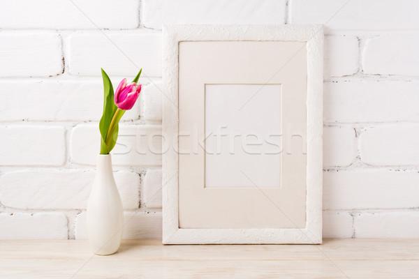 Fehér keret vázlat magenta rózsaszín tulipánok Stock fotó © TasiPas