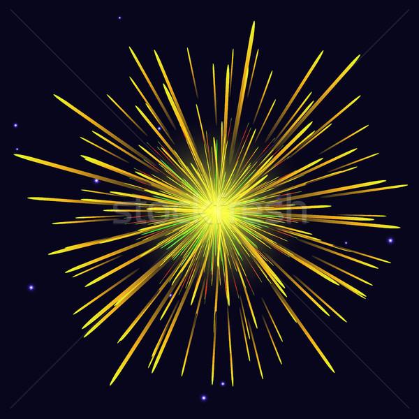 Radiant golden yellow fireworks holidays background Stock photo © TasiPas