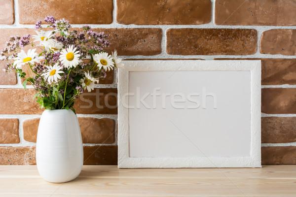 Fehér tájkép keret vázlat vadvirágok virágcsokor Stock fotó © TasiPas