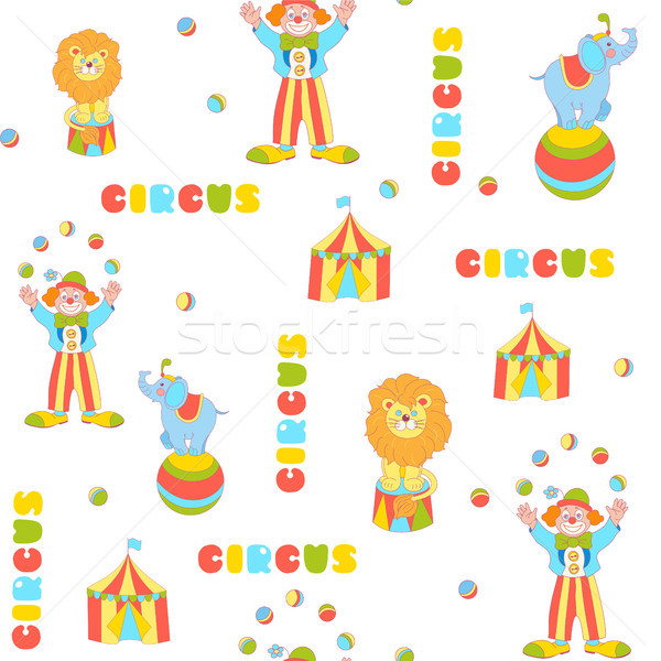 Cheerful circus vector seamless pattern Stock photo © TasiPas