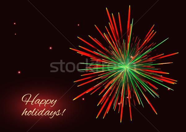 Vibrante rosso verde fuochi d'artificio copia spazio frizzante Foto d'archivio © TasiPas