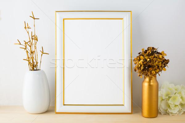 Stock fotó: Fehér · hírnév · vázlat · arany · keret · portré