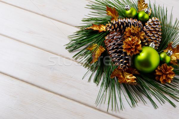 Christmas vakantie gouden ingericht krans exemplaar ruimte Stockfoto © TasiPas