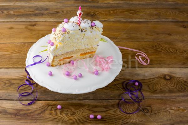 Meringue birthday cake on cake stand Stock photo © TasiPas