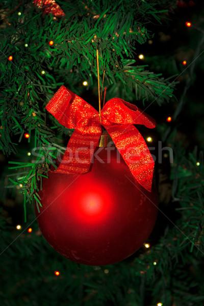 рождественская елка украшенный красный безделушка подвесной Рождества Сток-фото © TasiPas