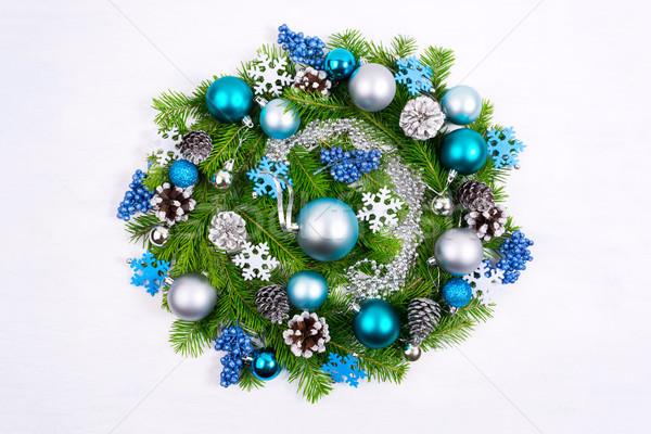 Navidad corona pálido azul turquesa plata Foto stock © TasiPas