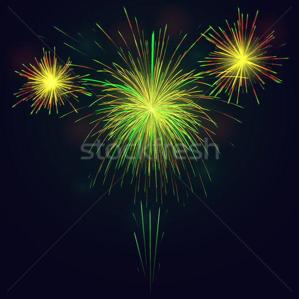 Golden green fireworks over night sky holidays background Stock photo © TasiPas