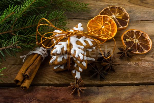 Christmas cookies and cinnamon Stock photo © TasiPas