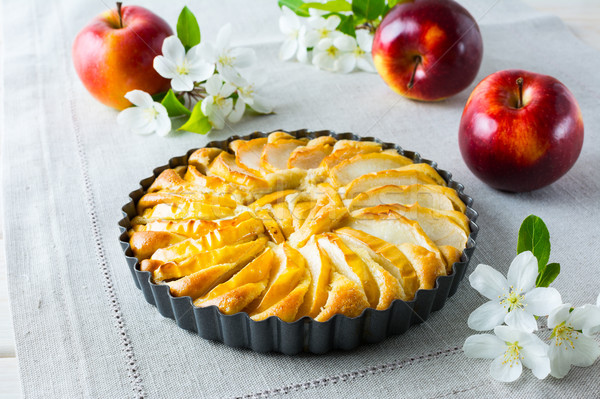 яблочный пирог яблоко Blossom салфетку домашний Сток-фото © TasiPas