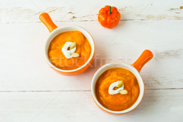 Sütőtök leves fallabda zöldségleves krém narancs Stock fotó © TasiPas