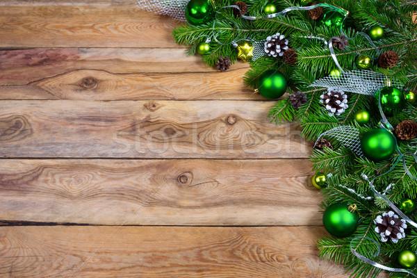 Рождества гирлянда зеленый соснового серебро Сток-фото © TasiPas
