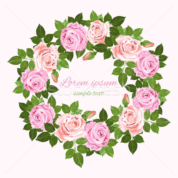 Vector wedding invitations with pink and beige roses wreath Stock photo © TasiPas