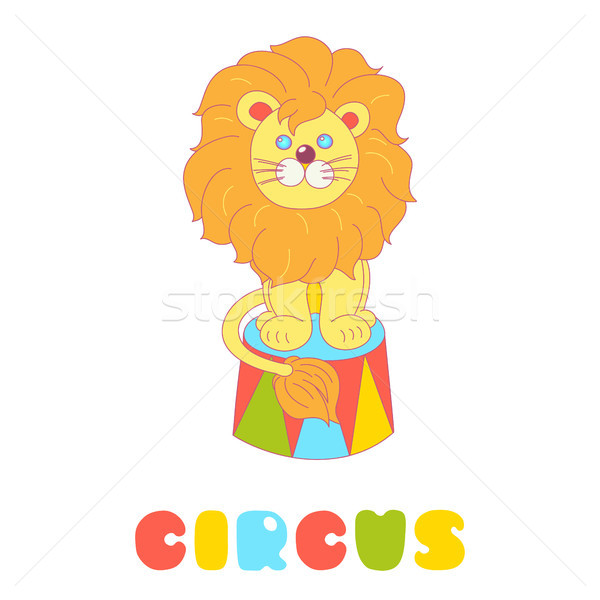Lion sitting in a circus arena vector isolated on white  Stock photo © TasiPas