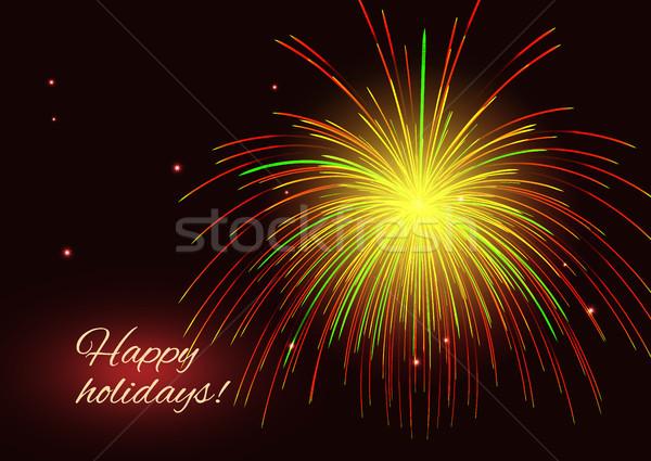 Piros citromsárga tűzijáték copy space pezsgő vibráló Stock fotó © TasiPas