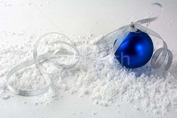 クリスマス 深い 青 飾り ボール 銀 ストックフォト © TasiPas