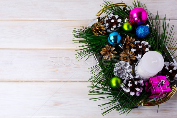 Stock photo: Christmas background with holiday ornaments, candle and pine con