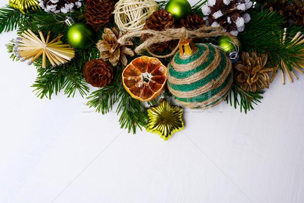 Рождества приветствие соломы звезды сушат апельсинов Сток-фото © TasiPas