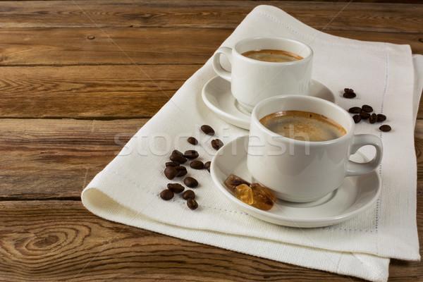 Kávé vászon szalvéta reggel kávéscsésze kávészünet Stock fotó © TasiPas