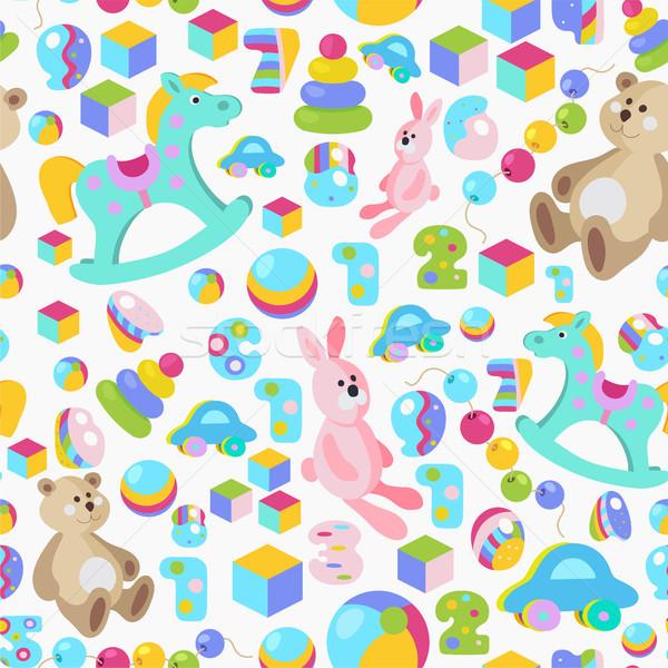 Ragazzi giocattoli colorato cartoon stile Foto d'archivio © TasiPas