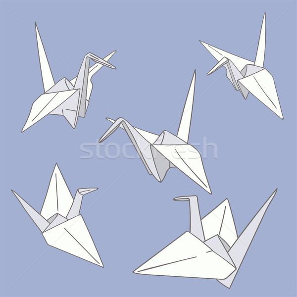 набор рисованной бумаги оригами птиц синий Сток-фото © TasiPas