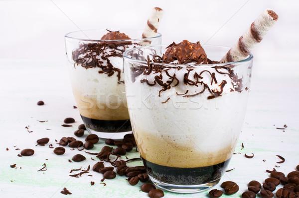 Kremsi kahve kokteyl gözlük içmek çikolata Stok fotoğraf © TasiPas