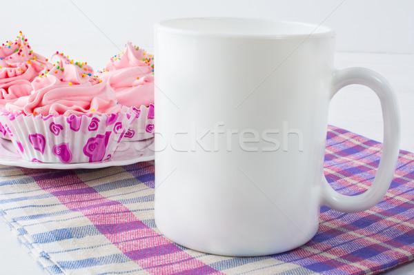Kahve kupa peçete beyaz kupa Stok fotoğraf © TasiPas