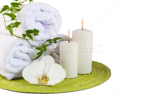 Spa concept with white orchid isolated on white Stock photo © TasiPas