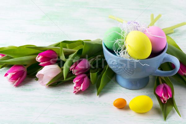Pasqua viola rosa verde giallo uova Foto d'archivio © TasiPas