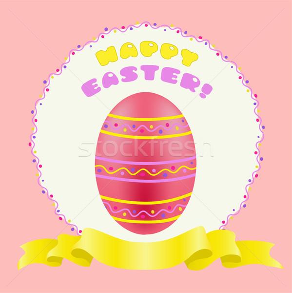 Húsvét piros színes tojás arany szalag kellemes húsvétot Stock fotó © TasiPas