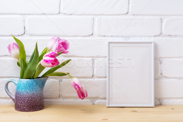 Fehér kicsi keret vázlat rózsaszín tulipán Stock fotó © TasiPas