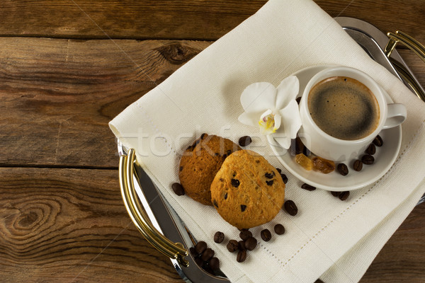 Serving tray with two coffee cups and white orchid Stock photo © TasiPas