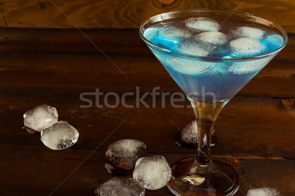 Koktél kék likőr martini gyümölcs háttér Stock fotó © TasiPas