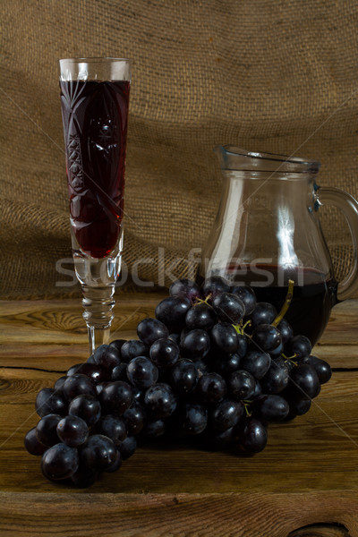 Stock photo: Bunch of dark grapes