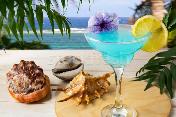 Stock fotó: Kék · koktél · trópusi · tenger · jeges · kozmopolita