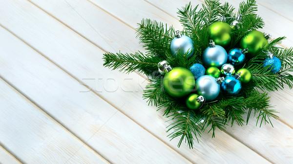 Noel yemek masası mavi parıltı süsler parti Stok fotoğraf © TasiPas