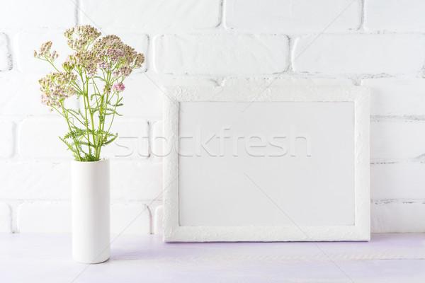Witte landschap frame romig roze Stockfoto © TasiPas