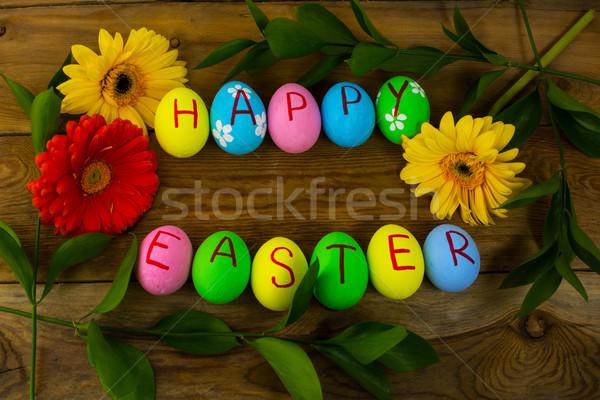 Easter eggs foglie buio legno Pasqua simbolo Foto d'archivio © TasiPas