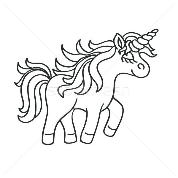 Hand drawing outline walking unicorn icon isolated on white  Stock photo © TasiPas