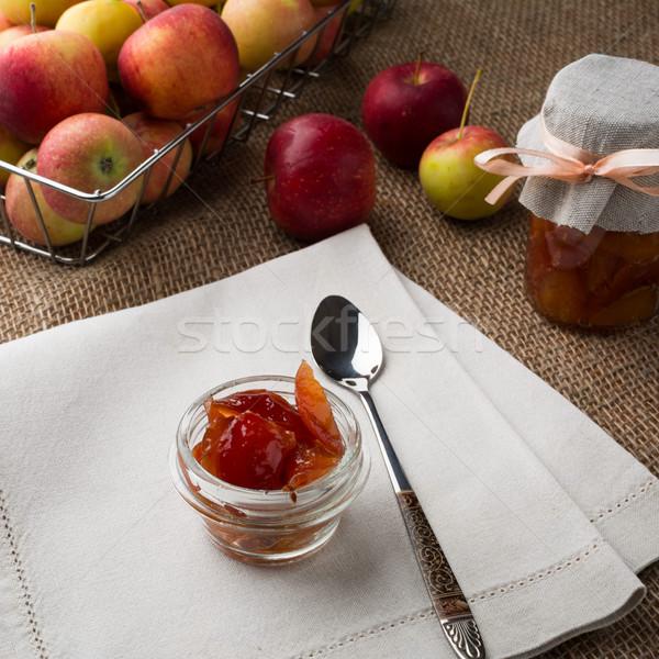 Appel jam vers vruchten glas jar Stockfoto © TasiPas