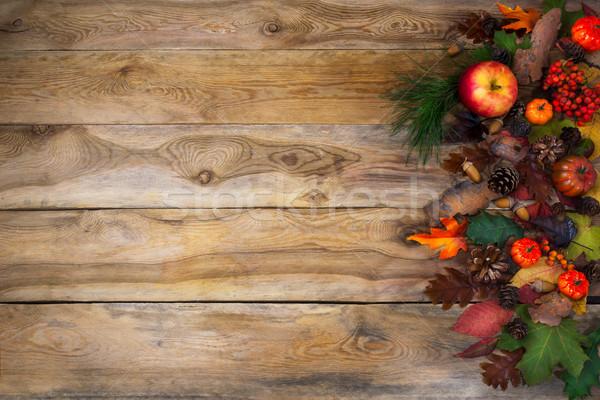 Rustique automne citrouille pommes action de grâces carte de vœux Photo stock © TasiPas