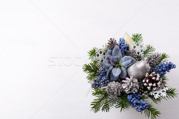 Navidad plata brillo decoración azul seda Foto stock © TasiPas