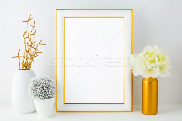 белый кадр небольшой кактус плакат Сток-фото © TasiPas