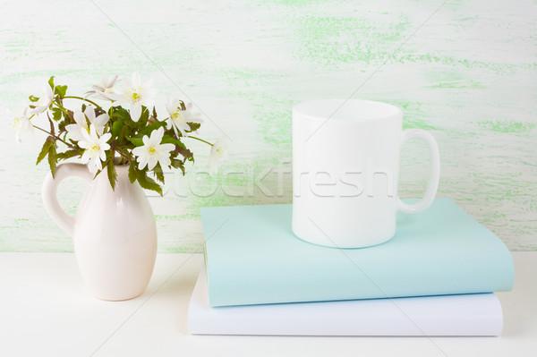 Kávésbögre vázlat tavaszi virágok üres bögre termék Stock fotó © TasiPas